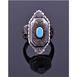 Sterling Turquoise Detailed Ring Signed TH