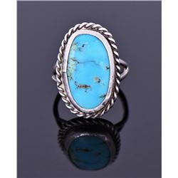 Sterling And Blue Turquoise Ring