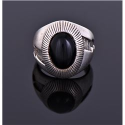Signed Black Onyx Ring Marked Sterling