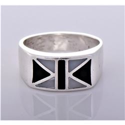 Vintage Inlaid Black and White Onyx Sterling Silver