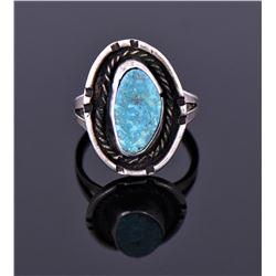 Blue Turquoise Ring Marked Sterling