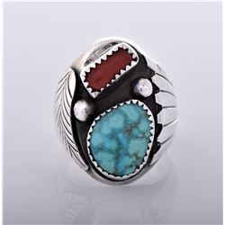 Old Pawn Navajo Red Coral And Southwest Blue