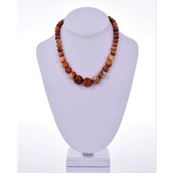 Natural Red Coral Graduated Bead Necklace.
