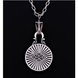 Sterling Silver Chain Necklace With Silver Round