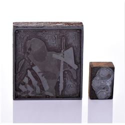 Two Vintage Newspaper Printer Block Stamps