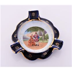 Limoges Hand Painted Porcelain ashtray, France.