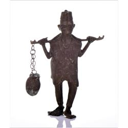 Antique Brass Sculpture of A Farmer Carrying A