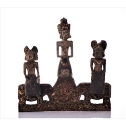 Antique Thai Wood Alter Carving Depicting Three