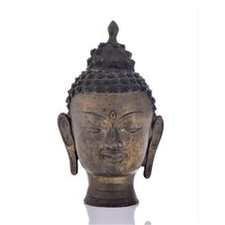 Antique Thai Bronze Buddha Head.