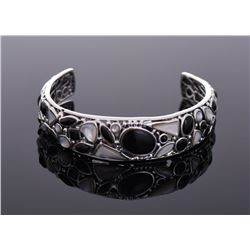 Unique Sterling Silver Black Onyx And Mother of