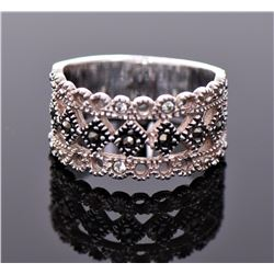 Vintage Marcasite Sterling Silver Ring With Rose
