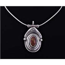 Gorgeous Spotted Stone Sterling Silver Amulet With