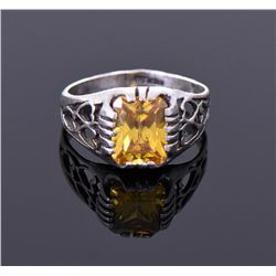 Citrine Sterling Silver Ring With Heart Shapes.
