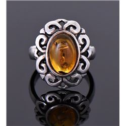 Natural Amber Sterling Silver Ring.