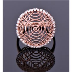 Rose Gold Sterling Silver And Cz Diamond Rope Ring