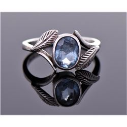 Blue Topaz Sterling Silver Ring. Ring Size Shown