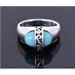 Vintage Blue Turquoise Sterling Silver Ring.