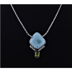 Large Blue Larimar And Peridot Sterling Silver