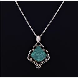 Vintage Malachite Sterling Silver Pendant Rope