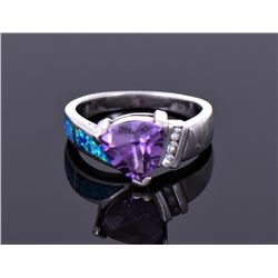 Trillion Cut Amethyst Blue Fire Opal And Cz