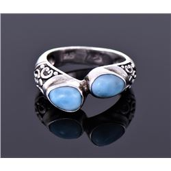 Vintage Larimar Sterling Silver Ring With Floral