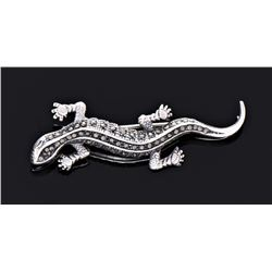Antique Sterling Silver Marcasite Lizard Brooch.