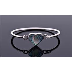 Heart Shaped Abalone Shell Sterling Silver