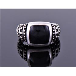 NF, Sterling Silver Onyx Ring. Ring Size Shown On
