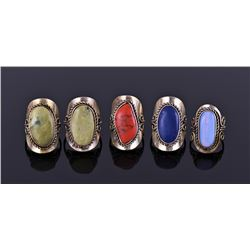 Five Tibetan Silver Rings With Beautiful Center