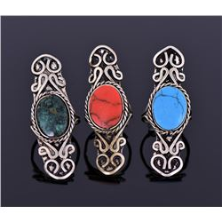 Three Tibetan Silver Rings With Beautiful Center