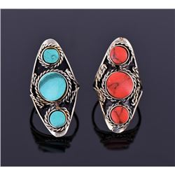 Two Tibetan Silver Rings With Beautiful Center