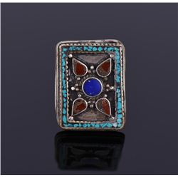 Tibetan Silver Turquoise And Carnelian Ring.