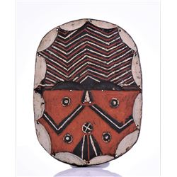 African Polychrome Painted Solid Wood Shield.