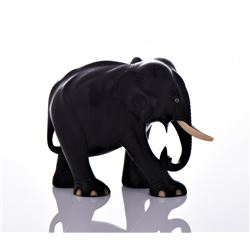 Large Ebony Solid Wood Elephant With Bone Tusks