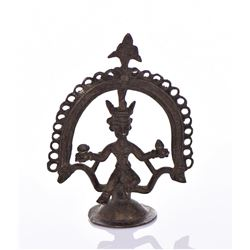 Antique African Ashanti Brass Figure Holding A