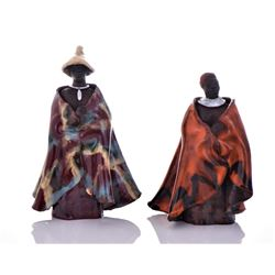 Two Vintage South African Glazed Clay Robed Figure