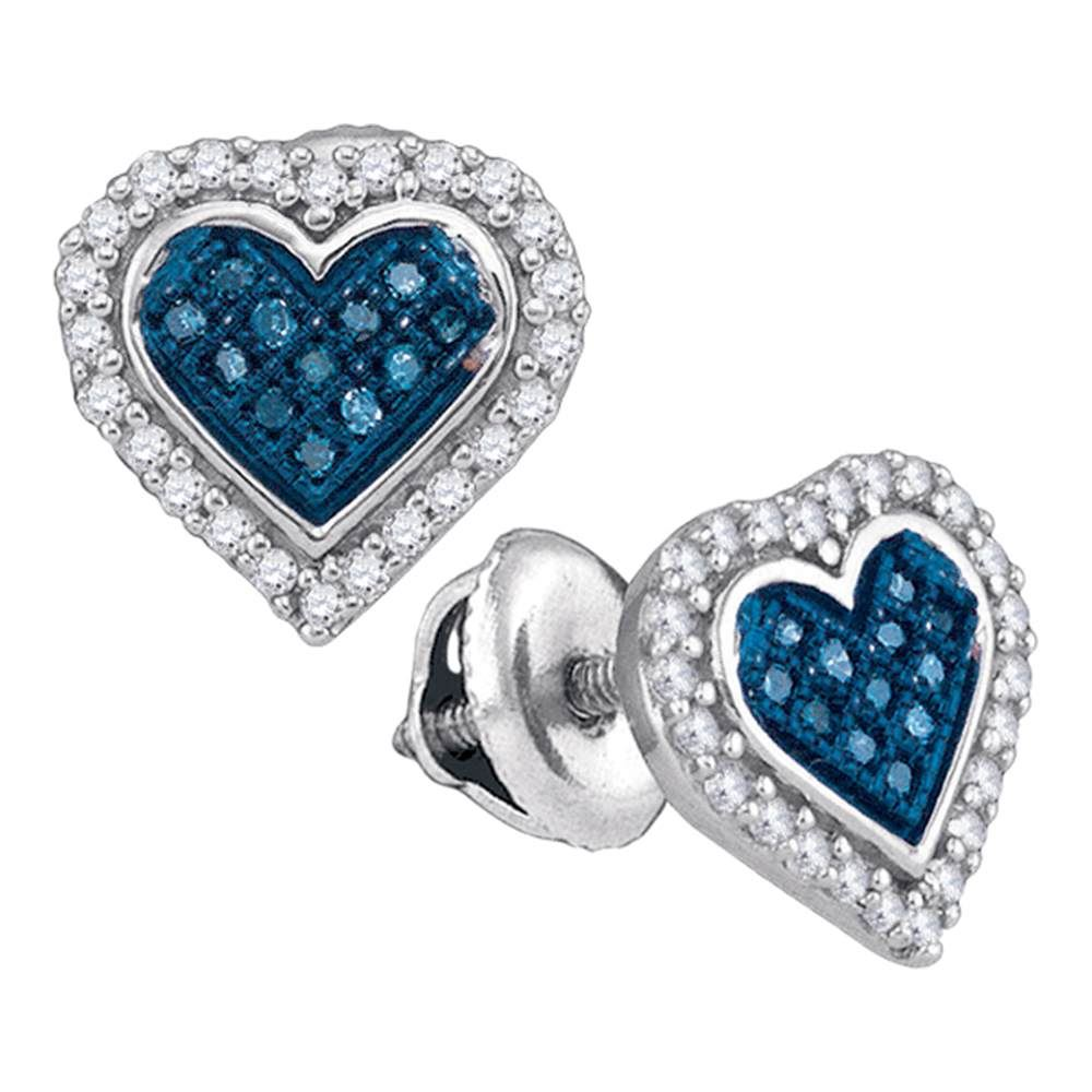 0 25 Ctw Blue Color Diamond Heart Love Stud Back Earrings 10kt White Gold Ref 19k4w
