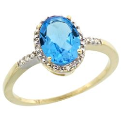 Natural 1.2 ctw Swiss-blue-topaz & Diamond Engagement Ring 10K Yellow Gold - REF-16V9F