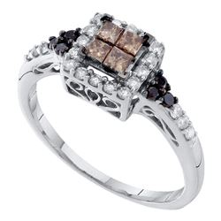 0.50 CTW Princess Cognac-brown Color Diamond Cocktail Ring 14KT White Gold - REF-41Y9X