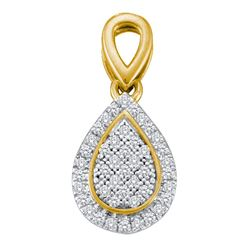 0.12 CTW Diamond Cluster Oval Teardrop Pendant 10KT Yellow Gold - REF-13X4Y