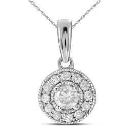 0.26 CTW Diamond Solitaire Pendant 14KT White Gold - REF-30F2N