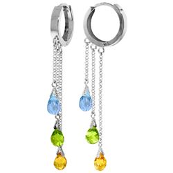 Genuine 4.8 ctw Multi-gemstones Earrings Jewelry 14KT White Gold - REF-64Y4F