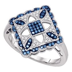0.25 CTW Blue Color Diamond Square Cluster Ring 10KT White Gold - REF-34N4F