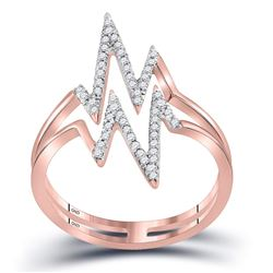 0.20 CTW Diamond Double Heartbeat Ring 10KT Rose Gold - REF-19M4H