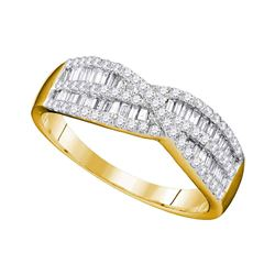 0.65 CTW Diamond Crossover Ring 10KT Yellow Gold - REF-37F5N
