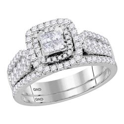 1.02 CTW Princess Diamond Cluster Halo Bridal Engagement Ring 14KT White Gold - REF-89H9M