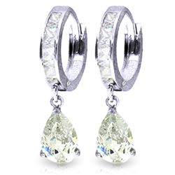 Genuine 4.2 ctw White Topaz Earrings Jewelry 14KT White Gold - REF-50M9T