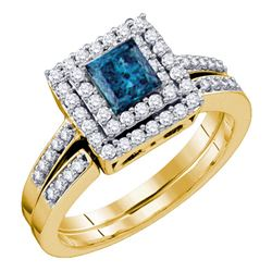 0.85 CTW Princess Blue Color Diamond Square Halo Bridal Ring 14KT Yellow Gold - REF-89M9H