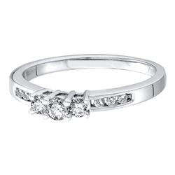 0.25 CTW Diamond 3-stone Bridal Engagement Ring 14KT White Gold - REF-30N2F
