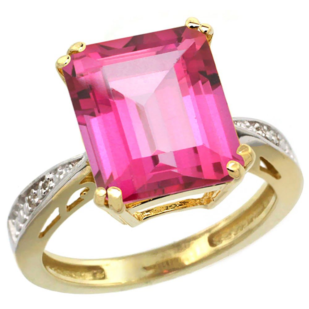 Natural 5.42 ctw Pink-topaz & Diamond Engagement Ring 14K Yellow ...